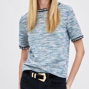 ZARA Trafaluc Tweed Pearl Short Sleeves Top Blouse